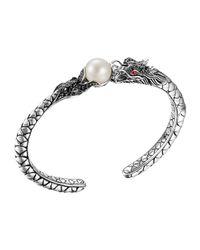 John Hardy - Metallic Naga Silver Lava Small Cuff With Pearl & Black Sapphire - Lyst