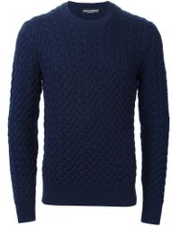 Dolce & Gabbana - Blue Cable Knit Sweater for Men - Lyst