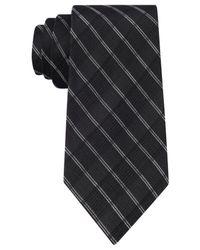 Calvin Klein | Black Simple Grid Slim Tie for Men | Lyst