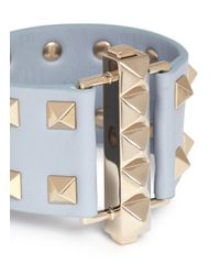 Valentino - Blue 'rockstud' Bar Clasp Wide Leather Bracelet - Lyst