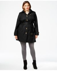 Michael Kors | Black Michael Plus Size Satin Trench Coat | Lyst