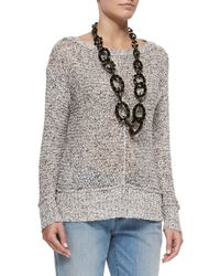 Eileen Fisher - Gray Speckled Knit Cotton Box Top - Lyst