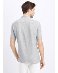 VINCE | Gray Linen Short Sleeve Button Up for Men | Lyst