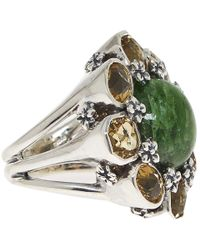 Stephen Dweck | Metallic Silver Green Cognac Quartz Flower Ring | Lyst