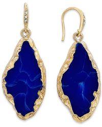 ABS By Allen Schwartz - Blue Gold-Tone Lapis Stone Drop Earrings - Lyst