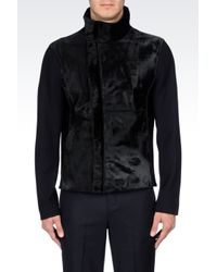 Emporio Armani - Blue Knit Blouson In Fur With Pony Skin Effect for Men - Lyst