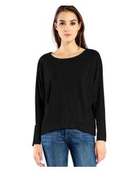 Michael Stars | Black Long Sleeve Boatneck Hi Low Crop | Lyst