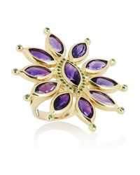 Ileana Makri - Purple Sea Flower 18-karat Gold, Amethyst And Tsavorite Ring - Lyst