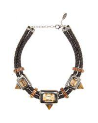 Roberto Cavalli - Metallic Crystalembellished Leather Necklace - Lyst