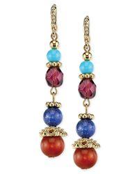 2028 - Metallic Gold-tone Multi-color Beaded Linear Earrings - Lyst