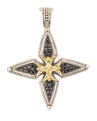 Konstantino | Metallic Pavé Black Diamond Cross Enhancer | Lyst