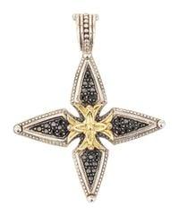 Konstantino - Metallic Pavé Black Diamond Cross Enhancer - Lyst