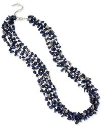 Kenneth Cole - Blue Silver-tone Semiprecious Chip Bead Multi-row Long Necklace - Lyst
