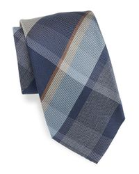 Vince Camuto | Blue Plaid Silk Blend Tie for Men | Lyst