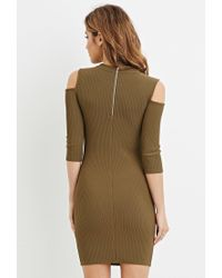Forever 21 | Green Open-shoulder Bodycon Dress | Lyst
