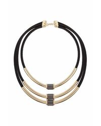 TOPSHOP - Metallic Three Row Tube And Cord Necklace - Lyst