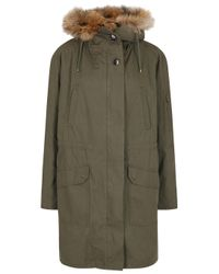 Yves Salomon - Green Olive Fur-Trimmed Cotton Coat - Lyst