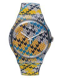 Swatch - Unisex Swiss Summer Socks Multicolor Knitting Pattern Silicone Strap Watch 41mm Suon110 - Lyst