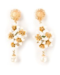 Dolce & Gabbana - Metallic Dropped Floral Earrings - Lyst