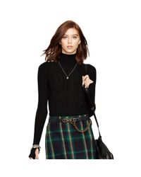 Polo Ralph Lauren - Black Turtleneck Pointelle Sweater - Lyst