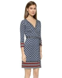 Diane von Furstenberg - Blue Tallulah 3/4-sleeve Printed Silk Wrap Dress - Lyst