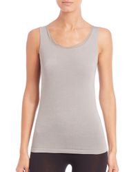 Wolford   Gray Athens Tulle-trim Top   Lyst