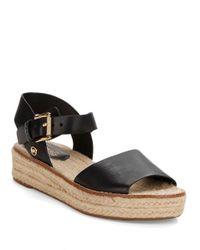 MICHAEL Michael Kors | Black Lilah Leather Platform Sandals | Lyst