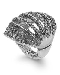 INC International Concepts | Metallic Silver-tone Black Pavé Open Dome Stretch Ring | Lyst