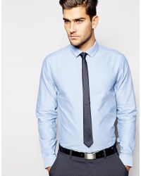 566815b990 Lyst - ASOS Oxford Shirt And Textured Tie Set Save 21% in Blue for Men