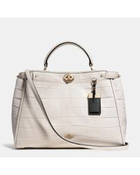 COACH | Metallic Gramercy Satchel In Croc Embossed Leather | Lyst