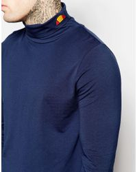 Ellesse Long Sleeve Roll Neck With Small Logo - Blue for men