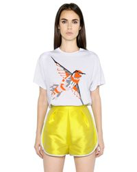 MSGM - White Hummingbird Printed Cotton T-Shirt for Men - Lyst
