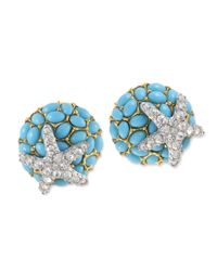 Kenneth Jay Lane | Blue Turquoise And Crystal Starfish Clip Earring | Lyst