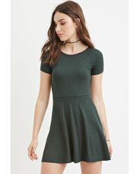 Forever 21 - Green Micro-ribbed Skater Dress - Lyst