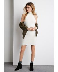 Forever 21 - Natural Mock-neck Bodycon Sweater Dress - Lyst