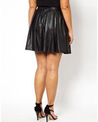 AX Paris - Black Curve Leather Look Skater Skirt - Lyst