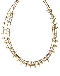 Anne Klein | Metallic Goldtone And Faux Pearl Triple Strand Necklace | Lyst
