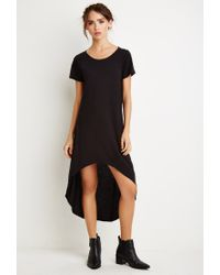 Forever 21 | Black Curved-hem T-shirt Dress | Lyst