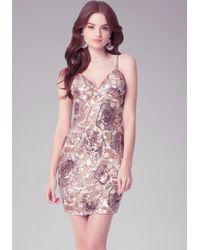 Bebe - Pink Rose Sequin Mini Dress - Lyst