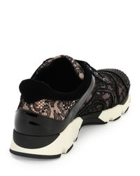 Rene Caovilla - Black Crystal-embellished Lace Trainer - Lyst
