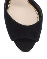 Jessica Simpson | Black Bonney Peep Toe Suede Sandals | Lyst
