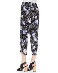 Thakoon Addition - Black Floral-print Cropped Silk Pants - Lyst