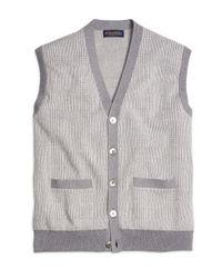 Brooks Brothers | Gray Cotton Cashmere Glen Plaid Vest for Men | Lyst
