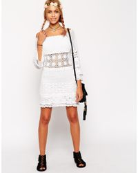 ASOS | White Crochet Dress With Off Shoulder | Lyst