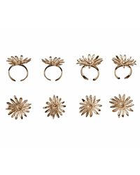 Bernard Delettrez | Metallic Set Of 4 Bronze Daisy Rings | Lyst