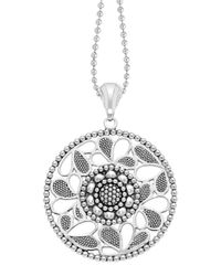 Lagos | Metallic Sterling Silver Voyage Caviar Floral Circle Pendant Necklace | Lyst