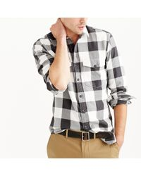 J.Crew - Black Herringbone Flannel Shirt In Buffalo Check for Men - Lyst
