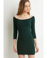 Forever 21 | Green Off-the-shoulder Bodycon Dress | Lyst