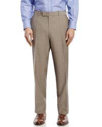 BOSS - Brown Flat Front Wool Dress Pants for Men - Lyst