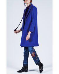 MSGM - Purple Concord Grape Wool Felt Coat - Lyst